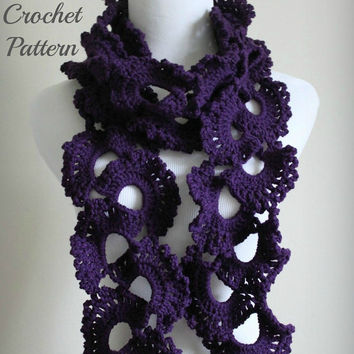 Crochet PATTERN PDF Queen Anne's Lace Scarf Pattern, Crochet Scarf Pattern, Lace Scarf Pattern