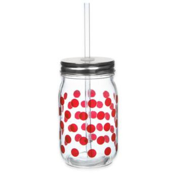 Red Dot 13 1/2 oz. Mason Jars with Lid and Straw (Set of 6)