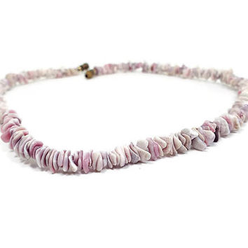 Vintage Puka Shell Necklace Lilac Purple and White with Barrel Clasp Retro 1980s 80s Beach Jewelry