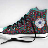 Tribal Converse  YOUR SIZE  Studded door RosieTheRebelClothes