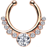 Clear Gem Rose Gold IP Pure Glamour Non-Pierced Clip On Septum Ring | Body Candy Body Jewelry
