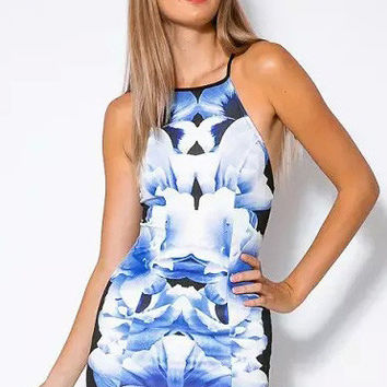 Blue Strappy Printed Sheathed Mini Dress