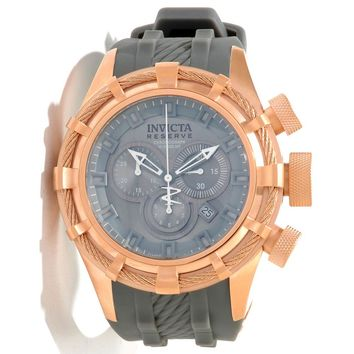 Invicta 11818 Men's Reserve Bolt Sport Grey Dial Grey Rubber Strap Rose Gold Tone Stainless Steel Chronograph Dive Watch