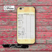 Library Card Book Checkout Reading Tumblr Inspired iPhone 5 5c Case and iPhone 6 and 6 Plus 6s and 6s Plus and iPhone SE iPhone 7 Plus Case