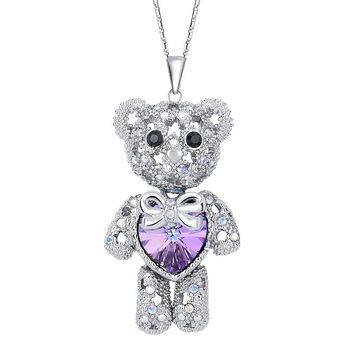 Women's Silver-tone Love Heart Bear Pendant Necklace Adorned with Swarovski Crystals