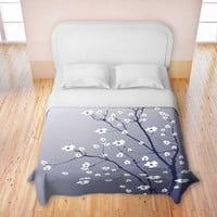 Duvet Covers Premium Woven Twin, Queen, King from DiaNoche Designs by Monika Strigel Unique, Cool, Fun, Funky, Artistic, Designer, Stylish Home Decor and Bedroom Ideas - Blooming Tree Blue Grey