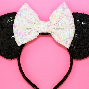 Black Sequin Ears and White Iridescent Bow