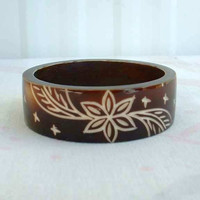 Carved Lucite Tortoise Shell Style Wide Bangle Bracelet Floral Design Vintage