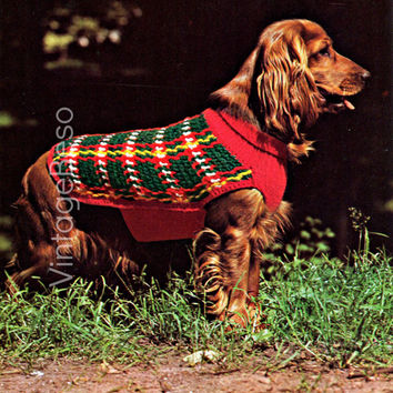 Super Tartan Dog Coat 1970's Vintage CROCHET and KNITTING Pattern your fur-baby deserves a gift from cold bad weather Instant Download Pdf