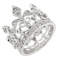 CZ Crown Eternity Ring - Silver /