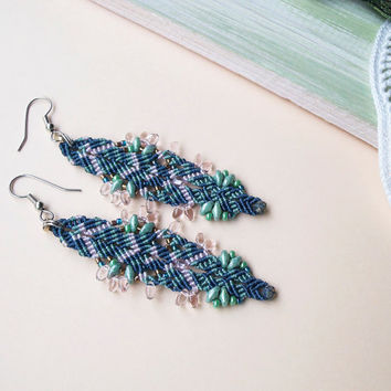 Micro macrame earrings, bohemian feathers, free spirit inspired, extra long earrings - Blue Pink Green