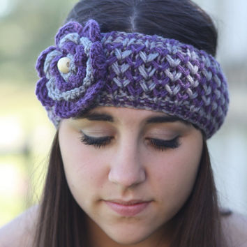 Crochet Headband - Large Flower, Purple, Lilac, Violet , Wood Beads, Knitted , Knit  ,infinity, Wide Headband, Turban, Christmas Gift