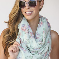 Helen Mint Floral Infinity Scarf