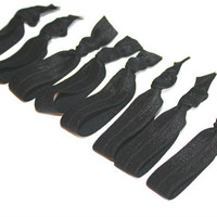 8 Emi Jay Like Hair Ties - All Black Yoga Hair Ties - Elastic Ribbon Hair Bands, Bracelets - Women's Hair Accessories