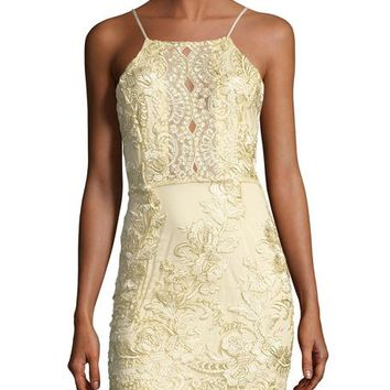 Haute Rogue Myra Floral-Embellished Dress, Gold