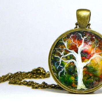 Hand painted TREE Pendant Eggshell Mosaic ART 1 inch Bronze with Chain