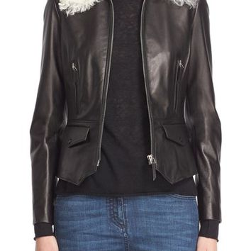 Belstaff 'Roxie' Leather Jacket with Removable Genuine Shearling Collar | Nordstrom
