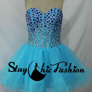 Blue Ombre Rhienstone Beaded Bust Lace Up Back Party Dress, Short Blue A Line Prom Dress
