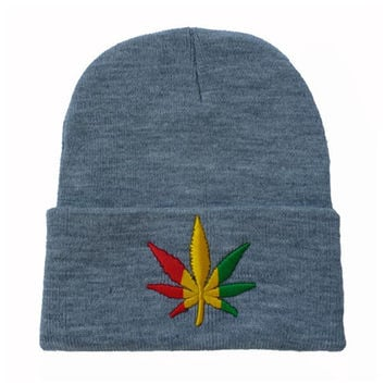 a075ce2b411 Weed Leaf Embroidered Warm Winter Beanie Womens   Mens Knitted Gray Cuffed  Skully Hat