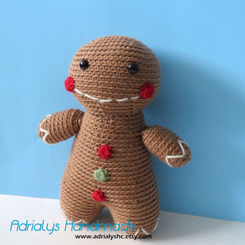 Crochet Gingerbread Man- Stuffed Gingerbread Man- Gingerbread Man Plush- Holiday Toys- Handmade Gingerbread Man-  Crochet Toy- Ready to Ship