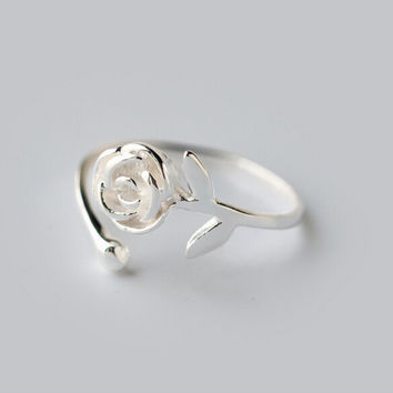 Fashion rose 925 sterling sliver opening ring,simple fashion rose ring,a perfect gift