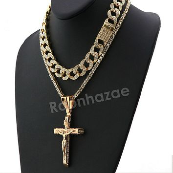Hip Hop Iced Out Quavo Small Cross Miami Cuban Choker Tennis Chain Necklace L15