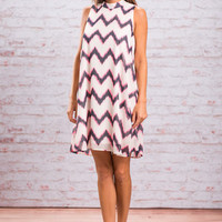 Highs And Lows Dress, White-Pink