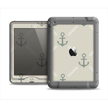The Tan Vintage Solid Color Anchor Linked Apple iPad Mini LifeProof Nuud Case Skin Set