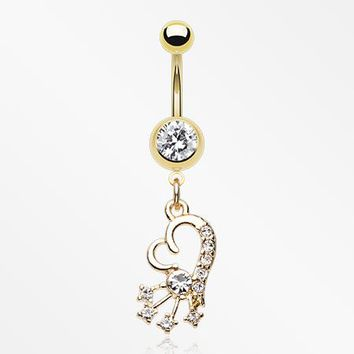 Golden Heart Shooting Stars Sparkle Belly Button Ring