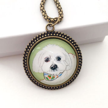 Custom Pet Portrait Necklace, Personalized Dog Necklace, Maltese Necklace, Shih Tzu Necklace, Pet Jewlery Dog Memorial Necklace Dog Painting