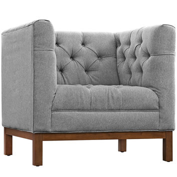 Modway Panache Fabric Armchair in Tufted Expectation Gray W/ Walnut Finished Legs