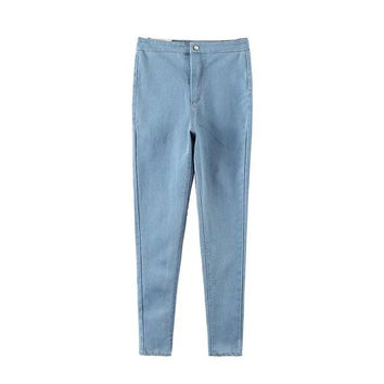 Summer Women's Fashion Stylish High Rise Rinsed Denim Jeans Pants Skinny Pants [4920406340]