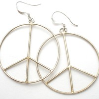 Large Peace Sign Earrings Sterling Silver Vintage