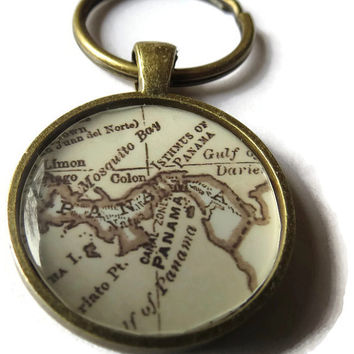 custom antique personalized keychain, sepia toned map keychain, old fashion map pendant charm keychains