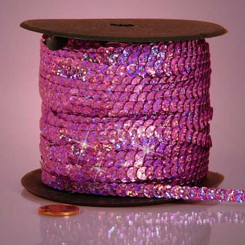 Pink Holographic Faceted Extra Sparkle String 6mm x 80 yards Sequins