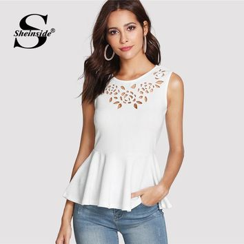 Sheinside White Hollow Out Sleeveless Peplum Top Summer Round Neck Ruffle Blouse Women Plain Slim Fit Elegant Blouse