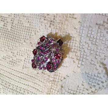 Vintage Handmade Genuine Rhodolite Garnet and Ruby 925 Sterling Silver Rhodium Brooch