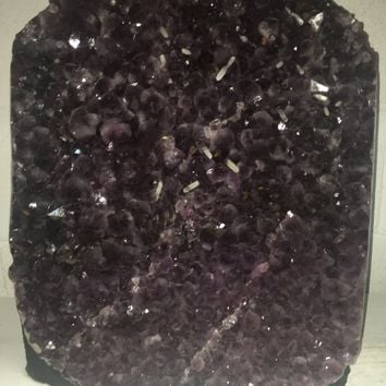 NEW Wide AAA Purple Amethyst Geode 16 inches tall x 16 inch wide- Large White Calcite Crystal Growing Inside- AAA Grade Amethyst from Brazil