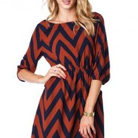 Forever Zig Zag Cinch Dress in Harvest - ShopSosie.com