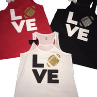Love Football Tank - Sports Tank - Custom - Ruffles with Love - Fun Tank - LOVE Symbol Tank