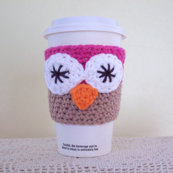 Owl Coffee Cozy / Crochet Cotton Cup Sleeve