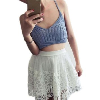 Women Cropped Knitted Tank Top 2017 Hot Sale Crochet Crop Top Fitness Tank Top Brandy Melville Sexy Ladies Bustier Vest Camis