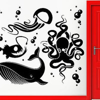 Wall Stickers Vinyl Decal Ocean Fish Whale Octopus Jellyfish Decor (z2372)
