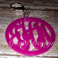 Acrylic monogram initials keychain keyring Lots of color option