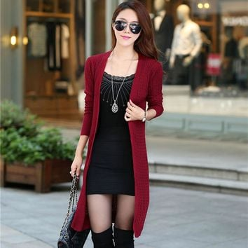 Autumn And Winter Cotton Knitting Elegant Long Cardigan Sweater Women 7 Colors Slim Outerwear Sweater Cardigan Women Plus Size