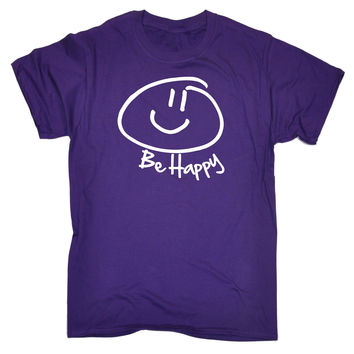 123t USA Men's Be Happy ... Smiley Face Design Funny T-Shirt