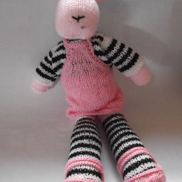 Laura Lamb - knitted toy - spring lamb - with top, pinafore and shoes - OOAK - Christmas/birthday/soft toy