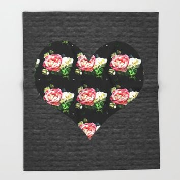 Simple Heart Floral Throw Blanket by DuckyB (Brandi)