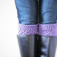Crochet Boot Cuffs Luxe Cuffs Socks Boot Toppers in Lilac