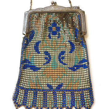 Vintage Whiting and Davis Mesh Purse, Art Nouveau Enamel Design Antique Handbag